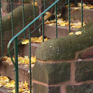 Rounded stone steps and iron railing