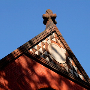 Stone decoration atop roof