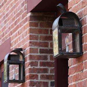 Lamps and brick wall